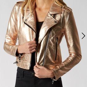 Blank NYC rose gold metallic vegan leather jacket